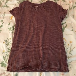Maroon and white striped shirt